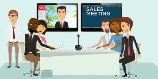 Business people watching video stream in conference room