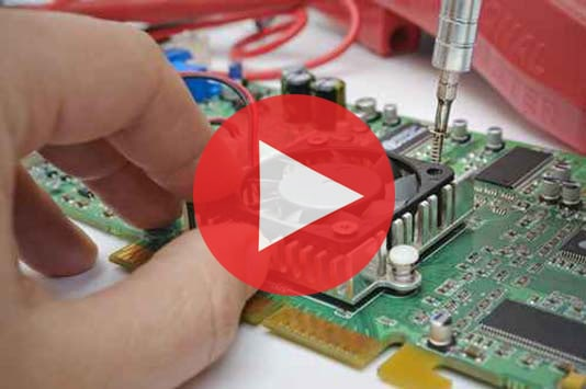 Training video image hand putting together computer circuit